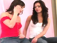 Flirty girls pound the biggest belt dicks and spray jism all