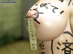 3D animated brunette is sucking on a cock and doing deep throat