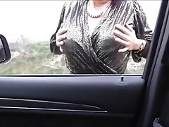 Misterous Big Boobs Mature in the car