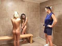 Gym Coach Catches Two Girls Experimenting