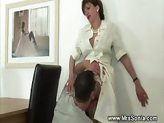 Eating horny mature pussy