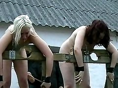 Two sluts receive severe training camp abuse