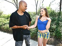 Hot white chick gets schtupped by a hung black stud