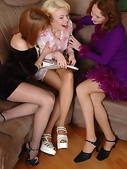 Whenever cuties in sheer pantyhose get together theyre about lez group sex