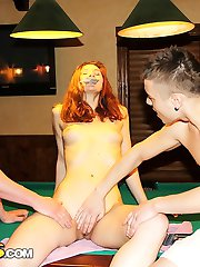 Sexy girl gives head in billiards club