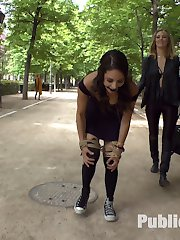 Perky Carolina Abril is back on Public Disgrace and humiliated in a crowded park by Mona Wales....