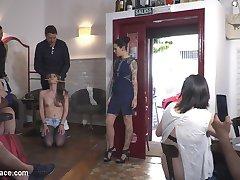 Slivia Rubi and Steve Holmes have their way with the demure pain slut Gemma Gomory. Silvia canes...