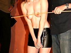 Hard strokes on her naked body