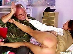 Brunette stunner caught fingering her hot wet cunt - spanked hard on her bare ass