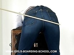 Bent over her school desk - battered and bruised buttocks