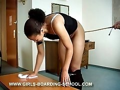 Dark skinned beauty caned to tears left with heavily marked ass