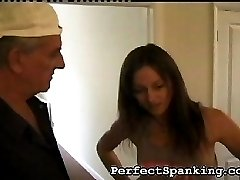 This girl needs to be disciplined. The senior painter takes on the job. He pulls her over his...