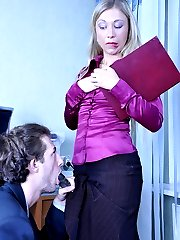 Office babe makes her co-worker swallow her strapon bait and open his ass