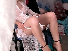 Hot blonde caught wearing real sexy outfit