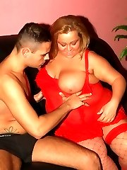 Lingerie clad BBW Agnes does a sexy striptease and got her juicy pussy fucked hard after sucking...