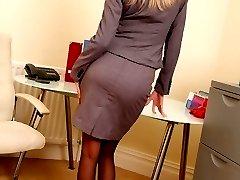 Long legged blonde in black stockings
