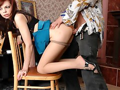 Sweltering babe in control top pantyhose seducing a guy into creamy fucking