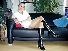 Uniform nurse wearing nude stockings and boots
