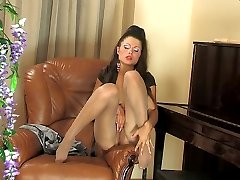 Footsie babe with sexy feet fingers her pussy thru shiny crotchless tights