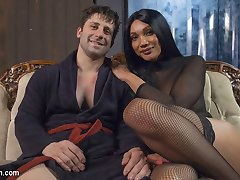 Yasmine Lee is perfection as always dominating Rick with her huge hard cock. He takes it all...
