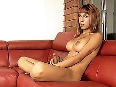 Hot Nathali masturbating and milking her breasts
