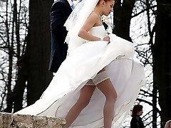 Beautiful and sexy upskirt bride