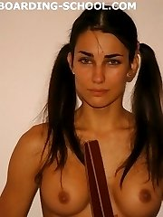 Harsh Palm Punishments for a hot Brunette with pigtails