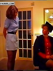 Sexy young nurse in uniform spanked hard otk - glowing pink buttocks