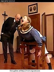 Cute schoolgirl bound and caned to tears