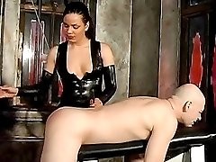 Naughty and kinky babes having fun spanking a stud