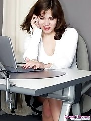 Naughty secretary knowing how to handle with her strap-on ass-ramming a guy