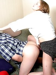 The desire burns in guys eyes as he reveals strap-on under babes skirt