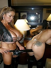 Summer Cummings and Minka straps on doing HARD LESBIAN STRAPON at WindowGirl.com