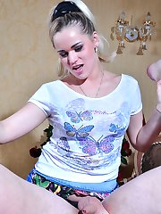 Teasing blonde opens her legs and shows her ass-splitting tool to her guy