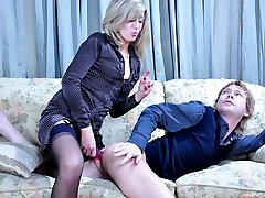 Bossy blonde probes her guys rectum before plunging her wicked rubber dick