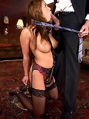 Busty Asian Mia Lelani has been purchased as a sex slave by the wealthy sadist Steve Holmes.  She is trained to give pleasure by taking punishment and getting fucked while in bondage.  Many kinky toys are used on her such as a steel pussy hook, a fucking machine and a suction cup that swells up her pussy for ultra tight penetration.