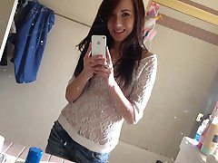Young looking shaved teen does some sexy mirror pics