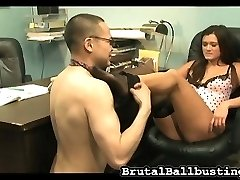 She kicks and knees him over and over, but he seems to like it. How about a taste of her smelly...