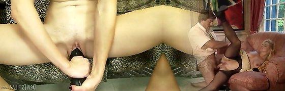 Lesbians in panties get very wet