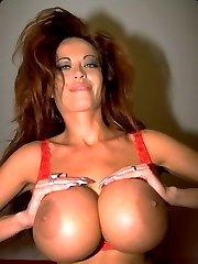 Sexy Redhead Licking Off her Boobs and Playing Dildo
