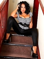 Danica Collins flashing on the stairs