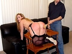 Buxom babe with big firm ass - hard and heavy spanking with a hairbrush