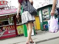 Young lady on hidden upskirt camera