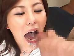 Tanaka Aya - Bukkake Cum In Mouth