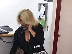 Mature secretary gets cum on her big tits