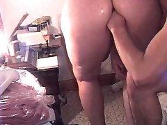 Fisting lube and cocaine into CrackSlutMILF bent over