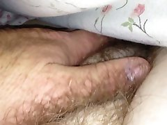 i love the feel of her soft hairy pussy under the sheets.