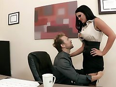 Big-tit office MILF Mackenzee Pierce takes two cocks at work