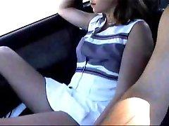 Pretty teen girl flashing her little tits