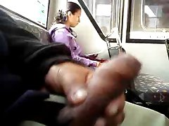 FLASHING GIRL STOPS READING TO SEE MY COCK ON THE BUS